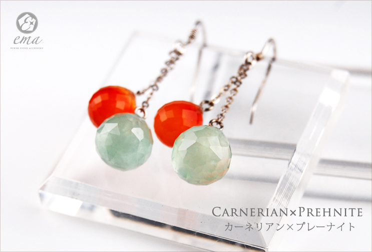【ema】カーネリアン×プレーナイト/パワーストーン天然石イヤリング・ピアス